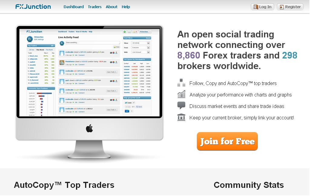Startseite der Social Trading Plattform FX Junction